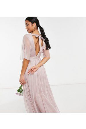 ANAYA Anaya With Love Petite – Brudtärnor – maxiklänning i tyll med utsvängd ärm-Pink