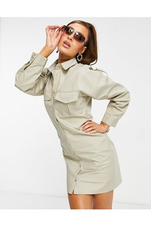 ASOS – Stenfärgad vardaglig skjortklänning i minilängd med indragen midja