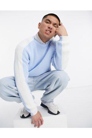 ASOS DESIGN – Pastellblå stickad tröja med sidoränder, del av set
