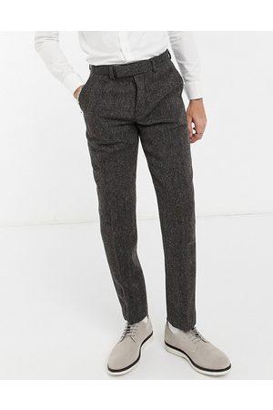 ASOS – Bruna fiskbensmönstrade kostymbyxor med smal passform i Harris-tweed av 100% ull