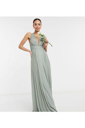 ASOS Tall ASOS DESIGN Tall – Brudtärnor – Olivgrön, draperad maxiklänning med rynkat liv och omlottdesign i midjan