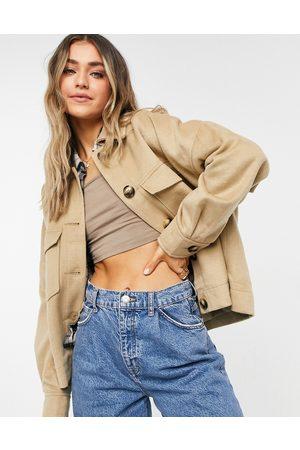 ASOS DESIGN – Kamelfärgad skjortjacka i borstad kvalitet-Ljusbeige