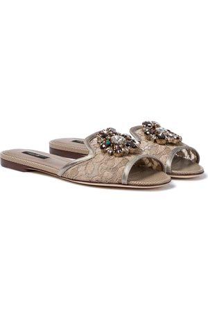 Dolce & Gabbana Kvinna Sandaler - Bianca embellished lace slides