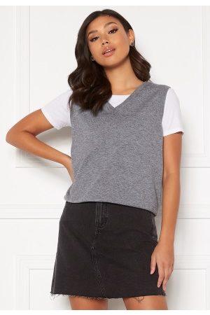 Object Thess S/L Knit Waistcoat Medium Grey Melange XL