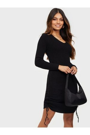 Parisian Rib Knit Rouched Midi Dress Fodralklänningar Black