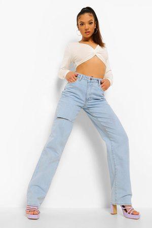 boohoo Petite - Boyfriend Jeans I Rigid Denim Med Slitage
