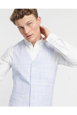 ASOS DESIGN Wedding – Pastellblå, crosshatch-mönstrad kostymväst med smal passform-Ljusbeige