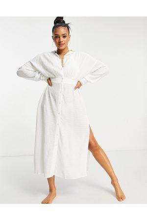 ASOS DESIGN – Skjortklänning för stranden i maxilängd och knäppar