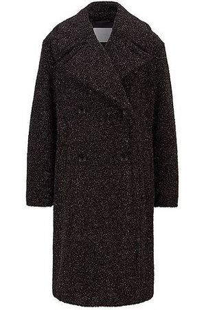 HUGO BOSS Relaxed-fit teddy coat with glitter finish