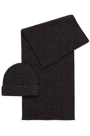 HUGO BOSS Beanie hat and scarf set in metallised fabric