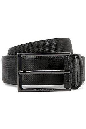 HUGO BOSS Man Bälten - Printed-leather belt with gunmetal buckle