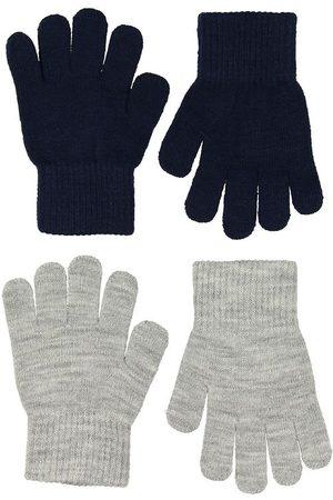 Melton Handskar - 2-pack - Stickat - Gråmelerad/Marinblå