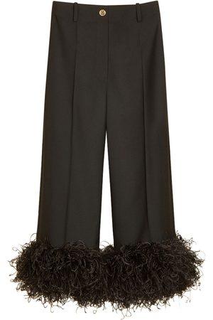 Patou Kvinna Trekvartsbyxor - Eco Wool Cropped Pants W/ Feather Trim
