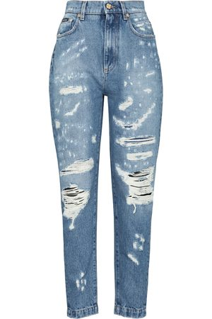 adidas Kvinna High waist - High-rise distressed slim jeans