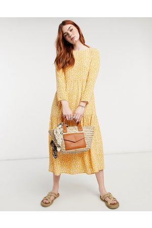ASOS – Senapsgul blommig midiklänning med lång ärm, panelsydd design och smock-Flera färger