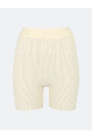 Bik Bok Kvinna Shorts - Rib Biker shorts - Offwhite