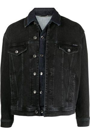 Dolce & Gabbana Skiktad jeansjacka med bokstavstryck