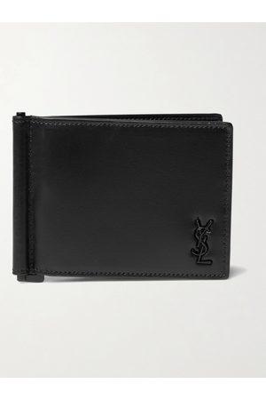 SAINT LAURENT Logo-Appliquéd Leather Wallet with Money Clip