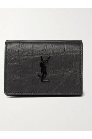 Saint Laurent Man Plånböcker - Logo-Appliquéd Croc-Effect Leather Trifold Wallet