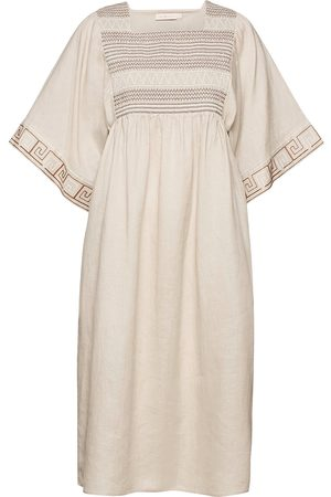 Tory Burch Embroidered Midi Caftan Dresses Everyday Dresses Beige