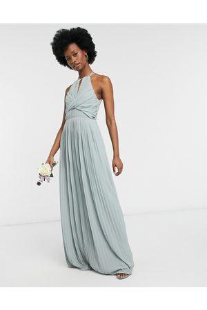 TFNC Kvinna Maxiklänningar - – Brudtärnor – Grön plisserad maxiklänning med omlottdesign