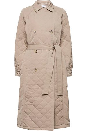 Selected Kvinna Trenchcoats - Slfninna Quilted Trenchcoat B Trench Coat Rock Brun