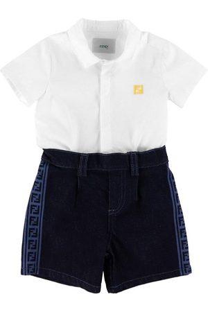 Fendi Pojke Jeansskjortor - Set - Skjorta/Shorts - /Denim Mörkblå