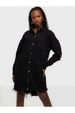 Missguided Super Hem Distress Denim Shirt Dress Klänning