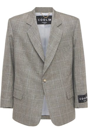 COOL TM Loose Wool & Linen Check Blazer