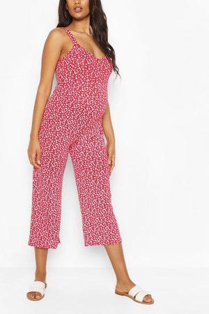 Boohoo Mammakläder - Blommig Jumpsuit I Culottemodell, Red