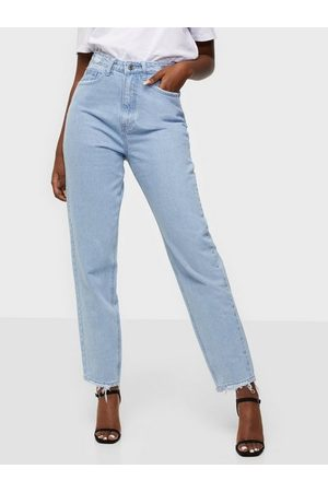 Missguided Kvinna Straight - Riot Highwaisted Waistband Disress Jeans Straight