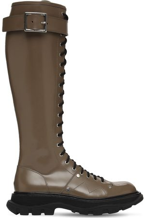 Alexander McQueen Kvinna Boots - 40mm Treaded Leather Tall Boots
