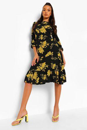 Boohoo Floral Drop Hem Midi Smock Dress, Black