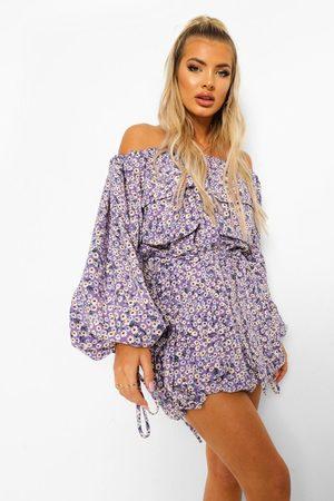 Boohoo Off Shoulder-Klänning Med Fickor, Purple