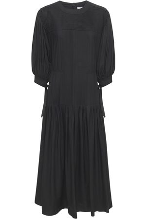 Jil Sander Cotton Long Dress W/ Ruffled Sleeves