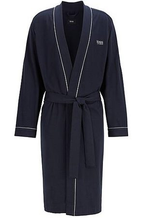 HUGO BOSS Man Badrockar - Cotton-jersey dressing gown with contrast piping