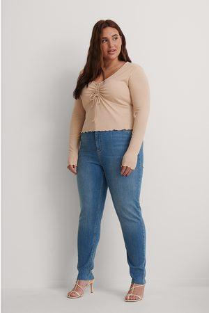 NA-KD Kvinna High waist - Ekologiska Skinny Jeans Med Hög Midja Och Rå Fåll