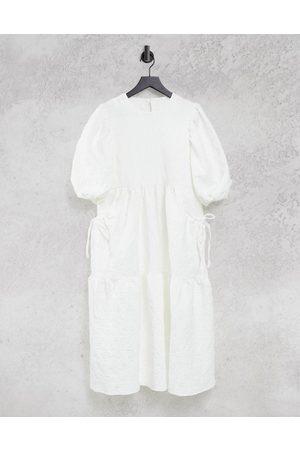 ASOS – jacquardvävd midiklänning med avskärning på kjolen och bälgfickor