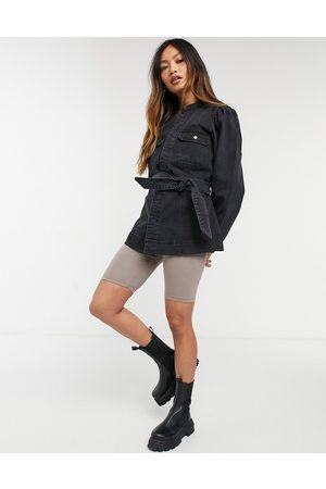 Vero Moda – jeansjacka med långa ärmar och skärp