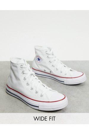 Converse – Chuck Taylor All Star – Vita sneakers med höga skaft och bred passform
