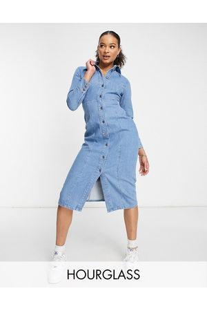 ASOS Kvinna Midiklänningar - Hourglass – Mellanblå figurnära midiklänning i denim med dekorativa sömmar och tvättad finish