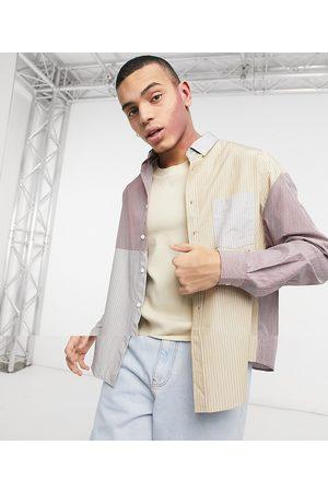 ASOS – Randig lappad 90-talsskjorta i oversize-modell