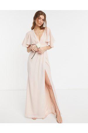 ASOS – Brudtärnor – Maxiklänning med satindetalj, omlottkjol och utsvängda ärmar-Pink