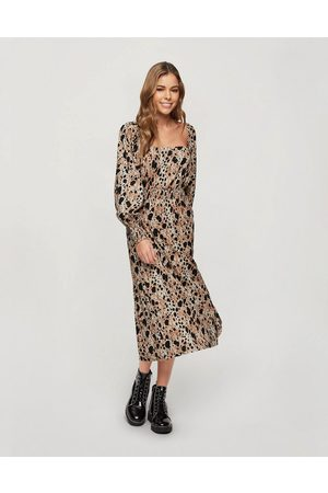 Miss Selfridge Kvinna Midiklänningar - – Djurmönstrad smockklänning i midilängd-Ljusbrun