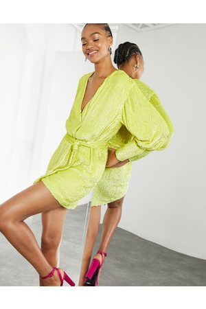 ASOS Kvinna Festklänningar - – Miniklänning med omlottdesign och paljetter