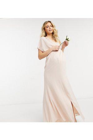 ASOS ASOS DESIGN Maternity – Mammakläder – Kortärmad maxiklänning med draperad halsringning och knäppning baktill-Pink