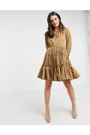Y.A.S – Kamelbrun miniklänning med samlade paneler