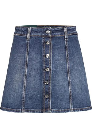 Self Cinema Kvinna Minikjolar - Womens Denim Skirt Embroidered Kort Kjol