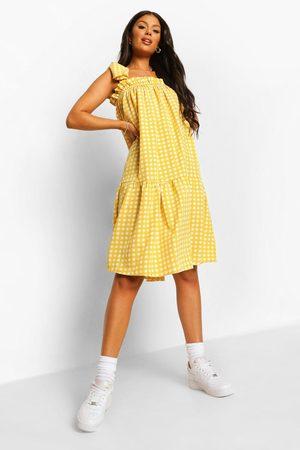 Boohoo Rutig Midiklänning Med Knytdetaljer, Yellow