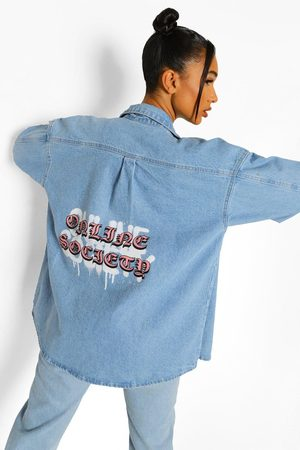 Boohoo Oversize Jeansskjorta Med Tryck Bak